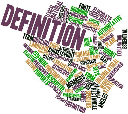 exhaustive: Abstract word cloud for Definition with related tags and terms