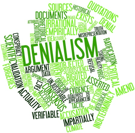 serviceable: Abstract word cloud for Denialism with related tags and terms