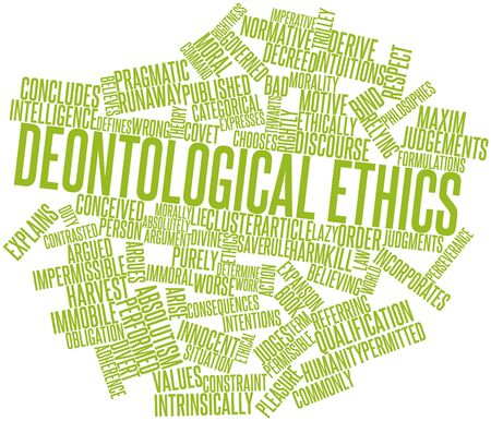 Abstract word cloud for Deontological ethics with related tags and terms photo