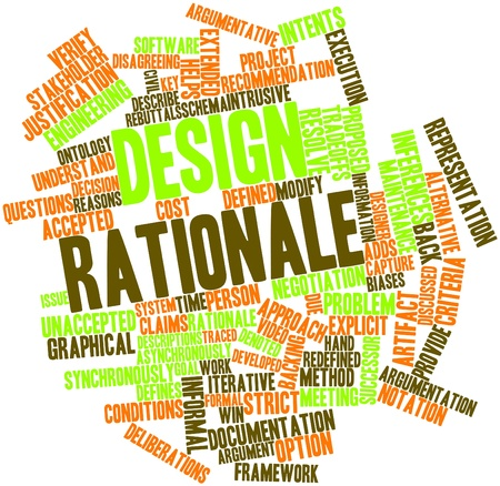 backing: Abstract word cloud for Design rationale with related tags and terms Stock Photo