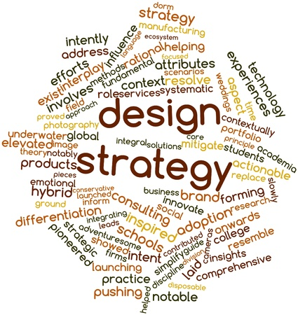 contributed: Abstract word cloud for Design strategy with related tags and terms