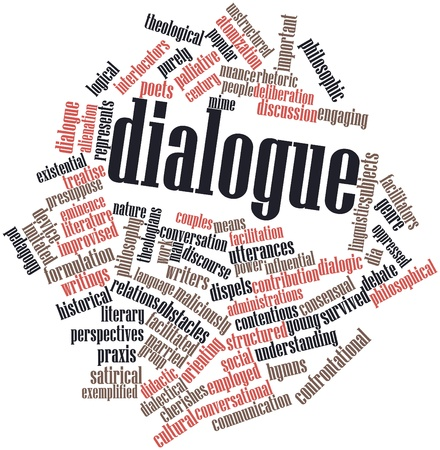 conversational: Abstract word cloud for Dialogue with related tags and terms