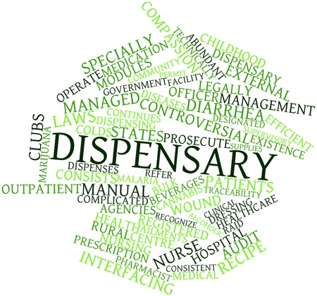 dispensing: Abstract word cloud for Dispensary with related tags and terms Stock Photo