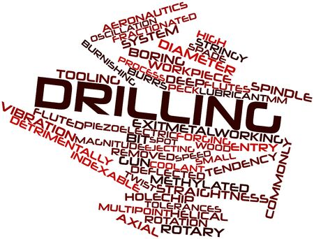 workpiece: Abstract word cloud for Drilling with related tags and terms Stock Photo