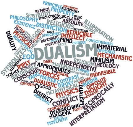 dualistic: Abstract word cloud for Dualism with related tags and terms Stock Photo