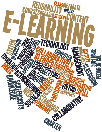 Abstract word cloud for E-learning with related tags and terms Archivio Fotografico