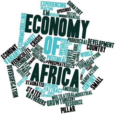 nominal: Abstract word cloud for Economy of Africa with related tags and terms Stock Photo