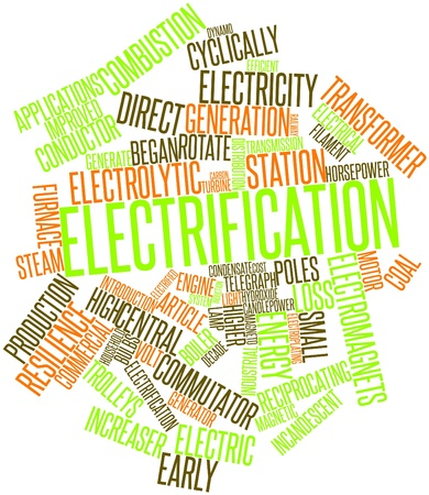 magneto: Abstract word cloud for Electrification with related tags and terms Stock Photo
