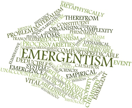 explanatory: Abstract word cloud for Emergentism with related tags and terms