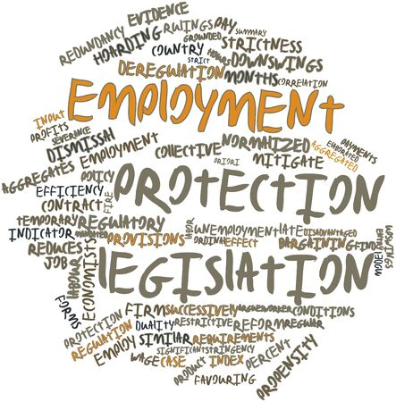 severance: Abstract word cloud for Employment protection legislation with related tags and terms