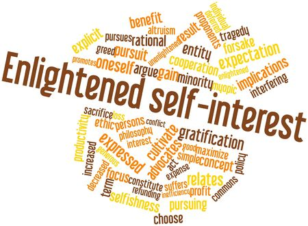 enlightened: Abstract word cloud for Enlightened self-interest with related tags and terms