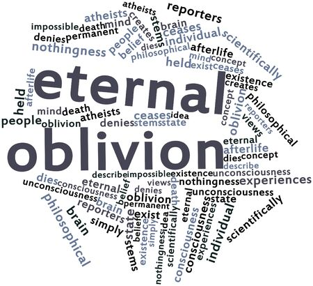 creates: Abstract word cloud for Eternal oblivion with related tags and terms Stock Photo