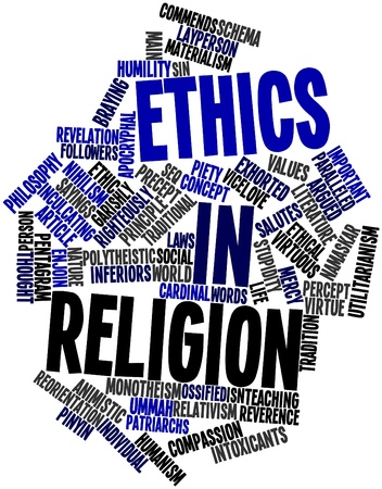 purported: Abstract word cloud for Ethics in religion with related tags and terms Stock Photo