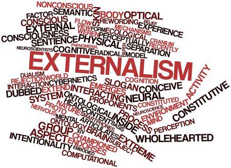 dualism: Nube palabra abstracta para externalismo con etiquetas y t�rminos relacionados Foto de archivo