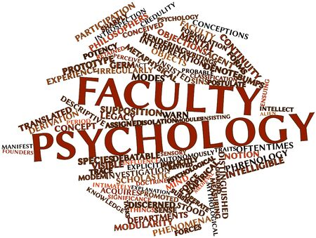 ensuing: Abstract word cloud for Faculty psychology with related tags and terms Stock Photo