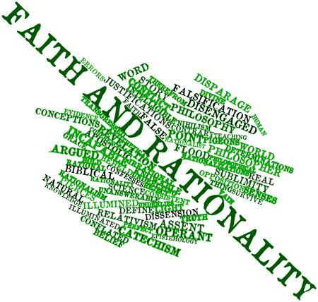 inteligible: Nube palabra abstracta para la Fe y la racionalidad con las etiquetas y términos relacionados Foto de archivo