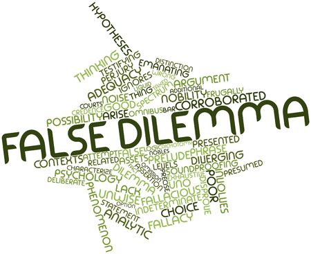 insists: Abstract word cloud for False dilemma with related tags and terms Stock Photo