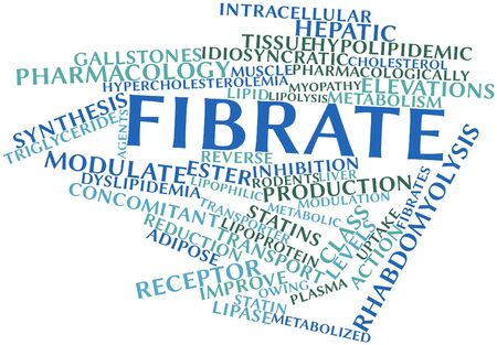Abstract word cloud for Fibrate with related tags and terms Stock Photo