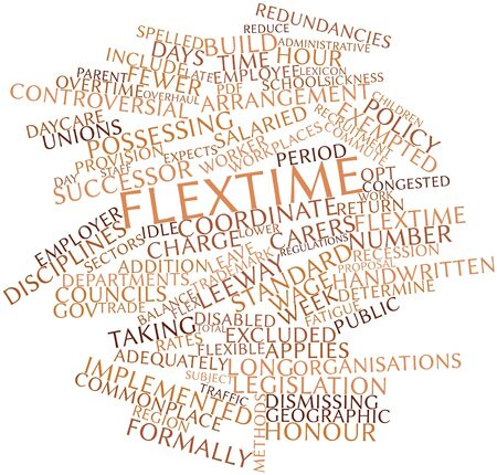 commonplace: Abstract word cloud for Flextime with related tags and terms Stock Photo