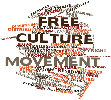 nascent: Abstract word cloud for Free culture movement with related tags and terms