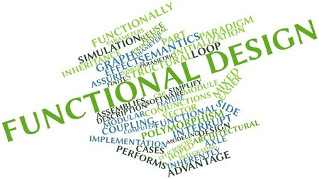 functional: Abstract word cloud for Functional design with related tags and terms Stock Photo