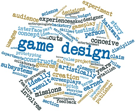 ideally: Abstract word cloud for Game design with related tags and terms Stock Photo