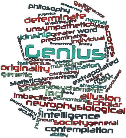 mire: Abstract word cloud for Genius with related tags and terms Stock Photo