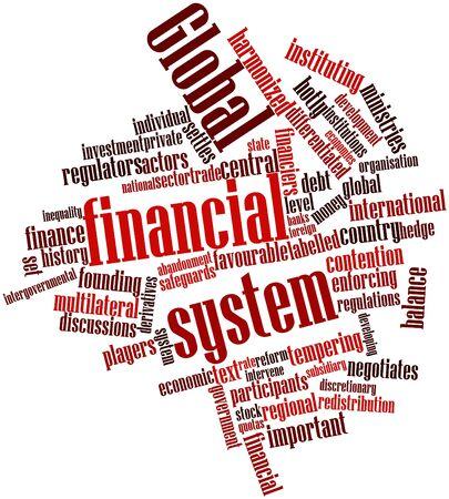 promotes: Nube palabra abstracta para el sistema financiero mundial con marcas y t�rminos relacionados
