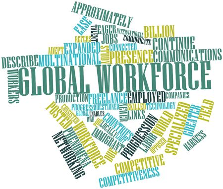 Abstract word cloud for Global workforce with related tags and terms