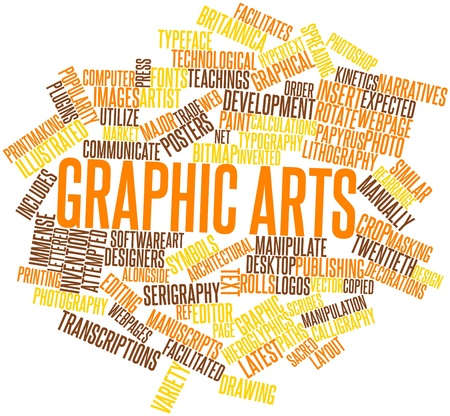 narratives: Abstract word cloud for Graphic arts with related tags and terms Stock Photo