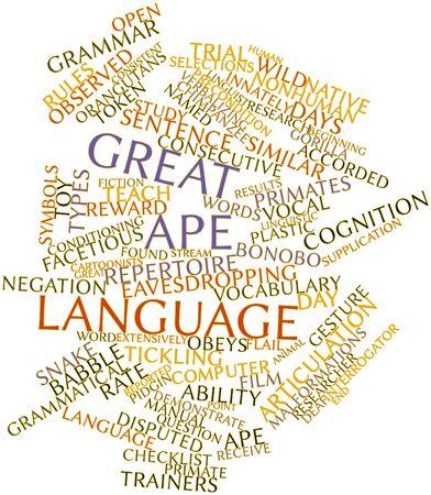 repertoire: Abstracte woord wolk voor Groot-aap taal met bijbehorende labels en termen