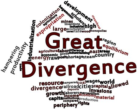 mines: Abstract word cloud for Great Divergence with related tags and terms