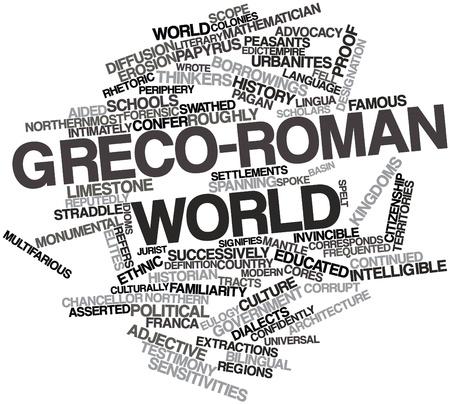 synoniem: Abstract woordwolk voor Grieks-Romeinse wereld met bijbehorende labels en termen Stockfoto