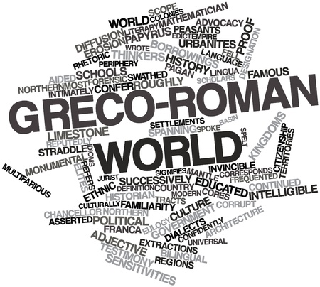 synonymous: Abstract word cloud for Greco-Roman world with related tags and terms