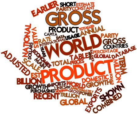 adjusted: Abstract word cloud for Gross world product with related tags and terms