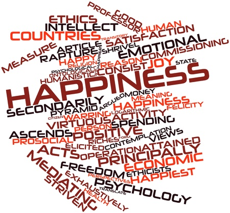 humanistic: Abstract word cloud for Happiness with related tags and terms