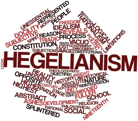 finite: Abstract word cloud for Hegelianism with related tags and terms Stock Photo