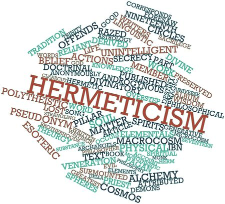 surmounted: Abstract word cloud for Hermeticism with related tags and terms