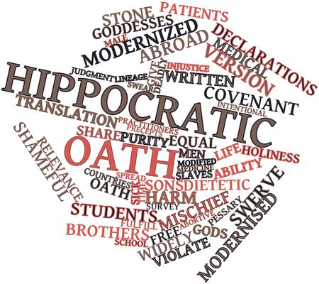 hippocratic: Abstract word cloud for Hippocratic Oath with related tags and terms Stock Photo