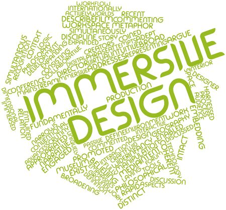 coined: Abstract word cloud for Immersive design with related tags and terms