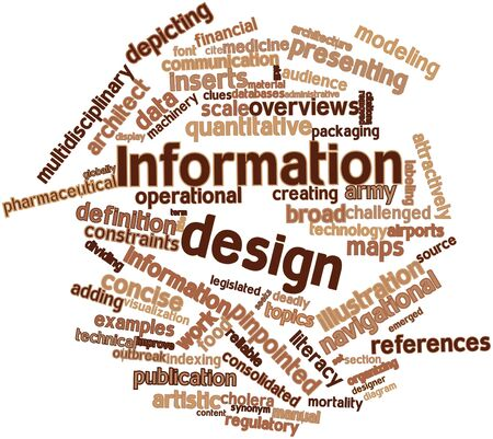 Abstract word cloud for Information design with related tags and terms