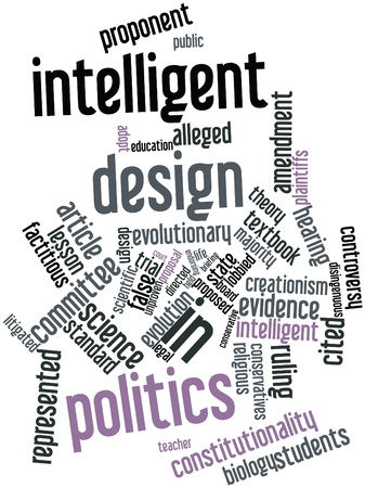 conservatives: Abstract word cloud for Intelligent design in politics with related tags and terms Stock Photo
