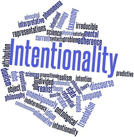 Abstract word cloud for Intentionality with related tags and terms Stock Photo