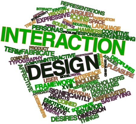 introduces: Abstract word cloud for Interaction design with related tags and terms Stock Photo