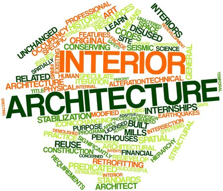 Abstract word cloud for Interior architecture with related tags and terms