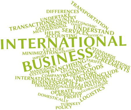 domestically: Abstract word cloud for International business with related tags and terms Stock Photo