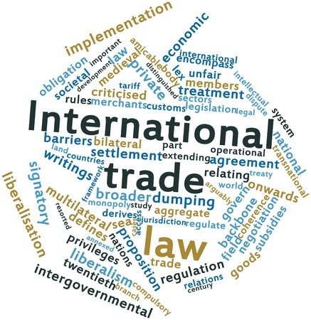 Abstract word cloud for International trade law with related tags and terms Archivio Fotografico