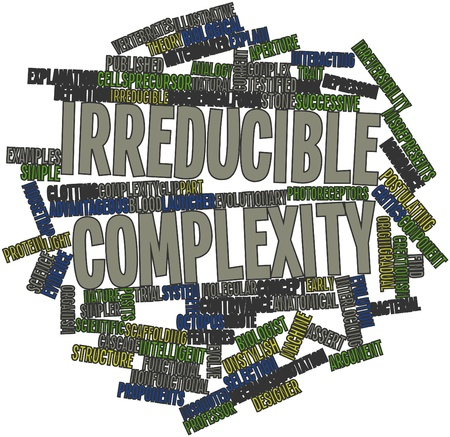 complexity: Abstract word cloud for Irreducible complexity with related tags and terms Stock Photo