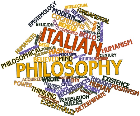 ontology: Abstract word cloud for Italian philosophy with related tags and terms