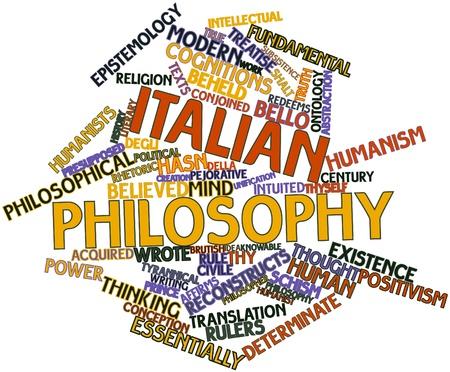 humanismo: Nube de palabras abstracto de la filosofía italiana con etiquetas y términos relacionados